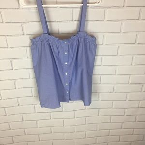NWT J Crew Blue/ White Stripe Crop Tank Top